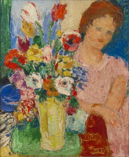 Charles KVAPIL - Peinture - Femme au Fleurs
