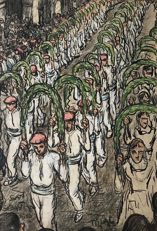 Pablo TILLAC - Drawing-Watercolor - Basque - Euskal-dantzariak - San Sebastian 1936.