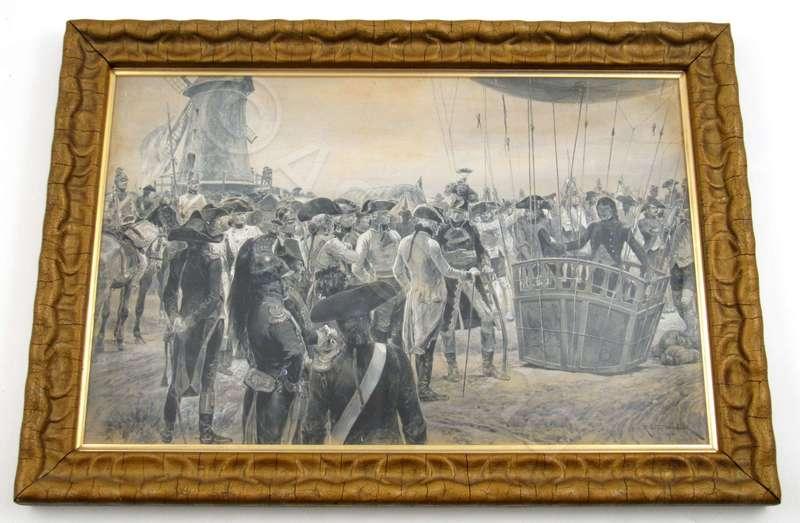Richard Caton II WOODVILLE - Dibujo Acuarela - The first War Ballon - French Army under General Jourdan