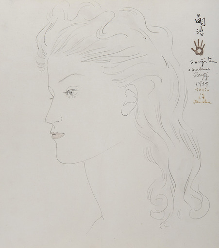 Tsuguharu FOUJITA - Drawing-Watercolor - Portrait de femme de profil