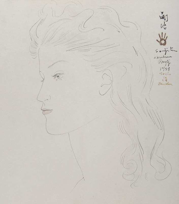 藤田嗣治 - 水彩作品 - Portrait de femme de profil