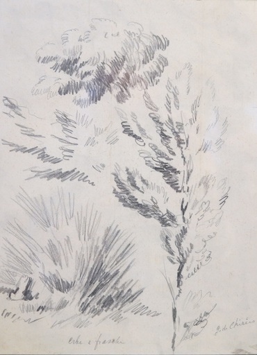 Giorgio DE CHIRICO - Disegno Acquarello - ERBE E FRASCHE - VENDUTO