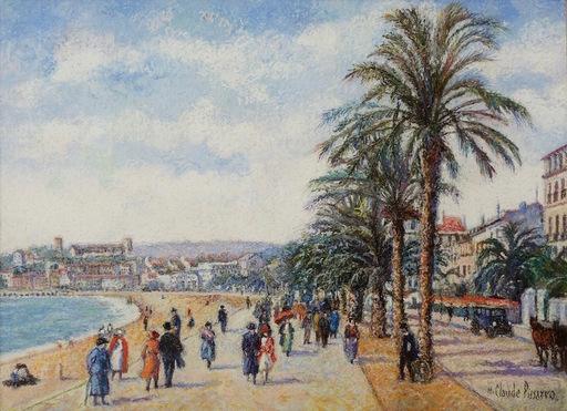 Hugues Claude PISSARRO - Dibujo Acuarela - Les Palmiers De La Croisette (Cannes)