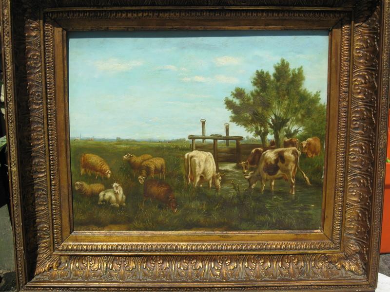Arthur DE WAERHERT - 绘画 - Kühe und Schafe auf der Weide