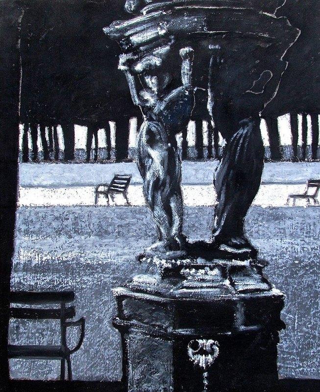 Carlo MAIOLINI - Peinture - Fontaine aux Muses