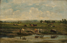Constant TROYON - Painting - River Landscape with Cows