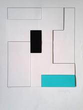 Gottfried HONEGGER - Grabado - Composition géométrique 3D (turquoise, noir)