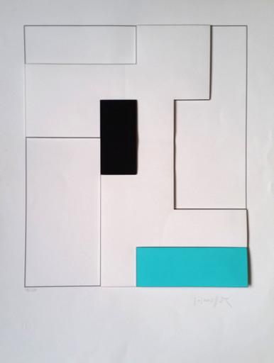 Gottfried HONEGGER - Print-Multiple - Composition géométrique 3D (turquoise, noir)