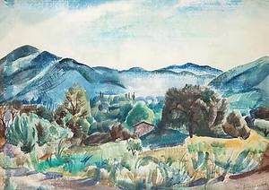 Willy EISENSCHITZ - Drawing-Watercolor - Landschaft bei Aix-en-Provence