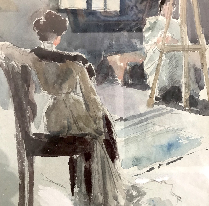 Ulpiano CHECA Y SANZ - Drawing-Watercolor - Modelo posando en su estudio