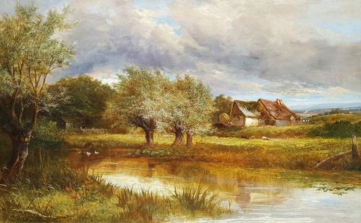 Joseph THORS - Pintura - A Farmyard Pond