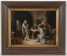 "Carl SCHLEICHER - Painting - ""Tavern scene"", oil on panel, ca. 1870"