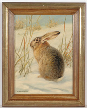 "Alfred WECZERZICK - Painting - ""Hare in snow"", oil painting, 1930s"