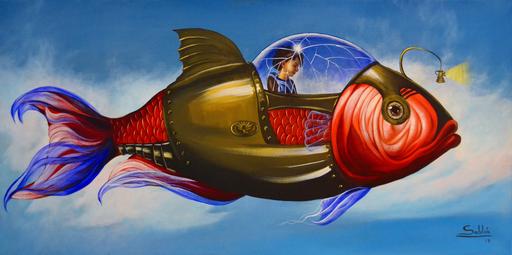 Carlos SABLÓN - Peinture - Le Voyage Fantastique I