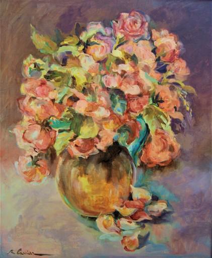 """Raymonde CARRIER - Pittura - """"Ce que vivent les roses"""". Bouquet dans un vase"""