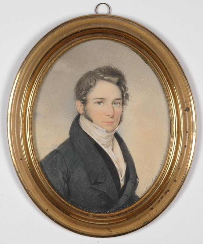 "Karl VON SAAR - Peinture - ""Portrait of a Young Gentleman"", 1824, Watercolor"