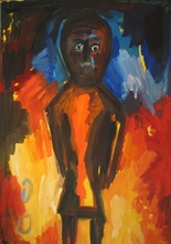 Helmut MIDDENDORF - Painting - African puppet, 1989