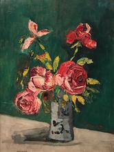 Élisée MACLET - Painting - Roses in a vase, 1919 ca