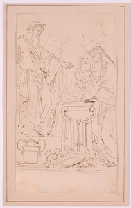 Angelica KAUFFMAN - Dibujo Acuarela - Ink Drawing attributed to Angelica Kauffmann (1741-1807)