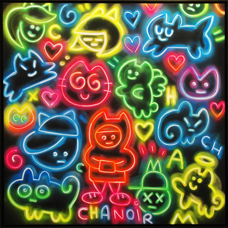 CHANOIR - Painting - Chas Néons Multicolore