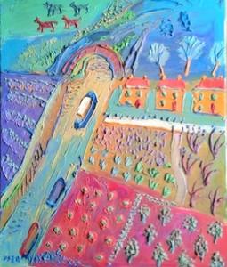 Fred YATES - Pittura - potager près d'un canal