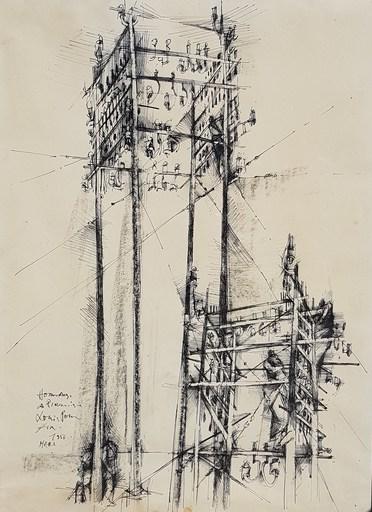 Louis PONS - Zeichnung Aquarell - Hommage à Piranèse