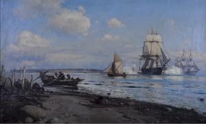 Lauritz B. HOLST - Pintura - Danish naval vessels firing a salute