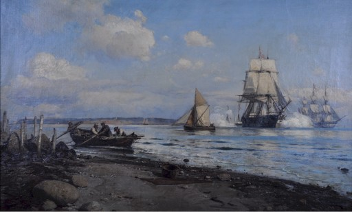 Lauritz B. HOLST - Painting - Danish naval vessels firing a salute