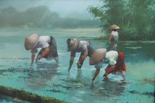 Cesar BUENAVENTURA Y ESPINOSA - Peinture - IN THE RICE FIELDS