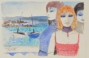 Charles LEVIER - Dessin-Aquarelle - Signed watercolor and ink rendering of a Three women