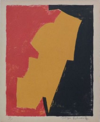Serge POLIAKOFF - Estampe-Multiple - Composition rouge, jaune et noire n°3