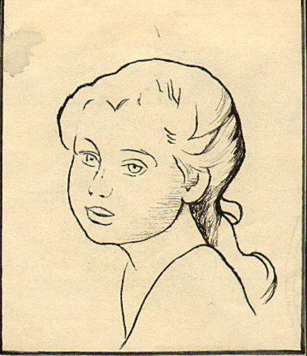 Gretchen WOHLWILL - Disegno Acquarello - Portrait eines Mädchens