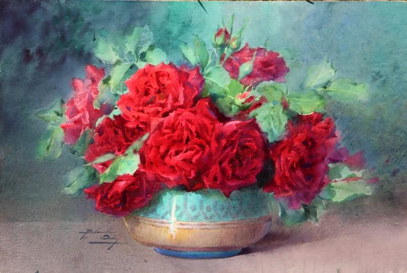 """Blanche ODIN - Drawing-Watercolor - """"BOUQUET DE ROSES ROUGES DANS UN VASE EN FAÏENCE EMAILLEE"""""""
