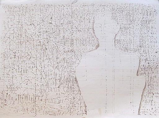 Karl KLUTH - Dibujo Acuarela - Mann, antike Figur (Silhouette).