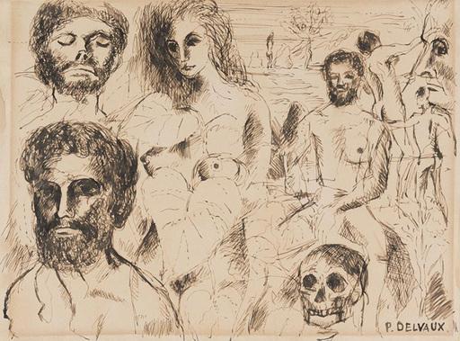 Paul DELVAUX - Drawing-Watercolor - Estudio de personajes