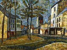 Auguste DUREL - Painting - Une place, à Paris