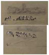 """Robert HEINRICH - Dibujo Acuarela - """"Grazing Cows"""", Two Drawings, late 19th Century"""
