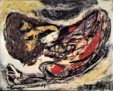 Karel APPEL - Peinture - DEUX TÊTES VOLANTES - 1958