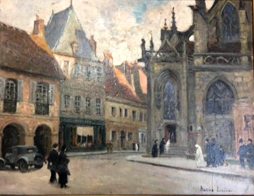 Lucien BARUÉ - Peinture - Moulins: les communiants sur le parvis