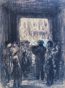 """Théophile Alexandre STEINLEN - Dibujo Acuarela - """"Le violoniste de Paris"""""""