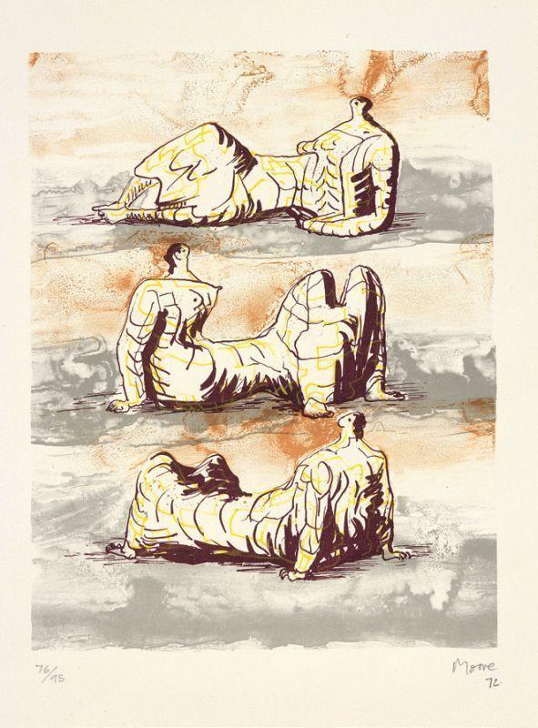 亨利•摩尔 - 版画 - Three reclining figure
