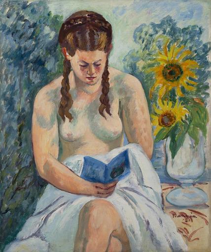 Henri MANGUIN - Painting - Geneviève Sauty nue lisant
