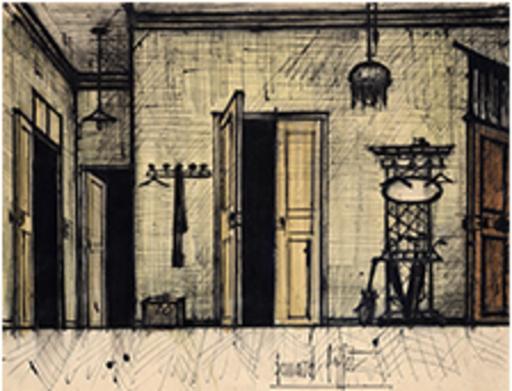 Bernard BUFFET - Drawing-Watercolor - Porte ouverte