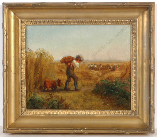"""Mathias RANFTL - Painting - """"Refreshment for field workers"""", small oil painting, 1850s"""