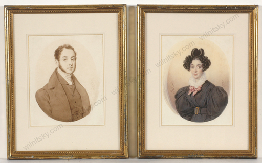 "Henri Joseph HESSE - Miniatur - ""Comte and Comtesse de Breche"", two watercolor portraits, 18"
