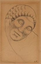 Elie NADELMAN - Drawing-Watercolor - Female Head