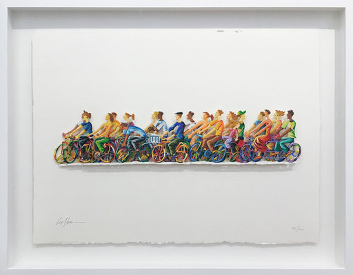 David GERSTEIN - Drawing-Watercolor - Biking