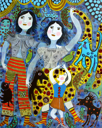 Claudine Marie Claire LOQUEN - Gemälde - Esmeralda Danse avec les Loups