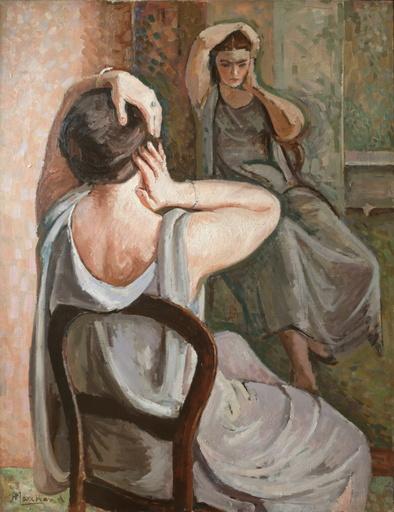 Jean Hippolyte MARCHAND - Painting - Femme au miroir