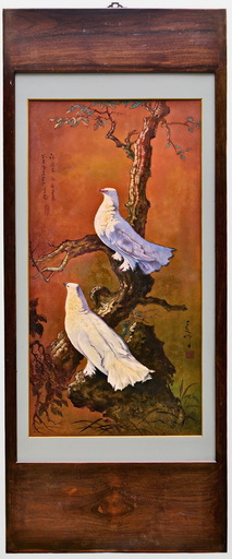 LEE Man Fong - Painting - TWO DOVES IN THE EVENING TWILIGHT